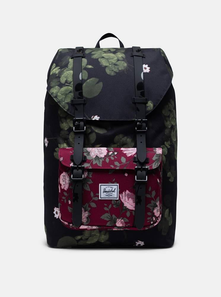 Herschel Supply Čierny kvetovaný batoh Herschel Supply