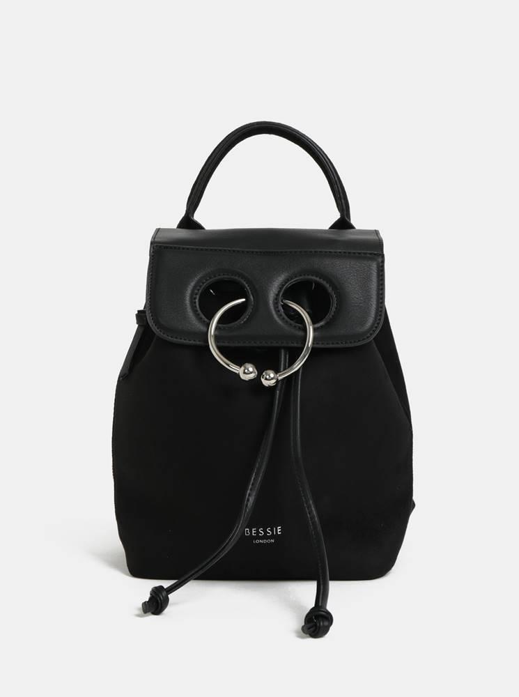 Bessie London Čierny batoh v semišovej úprave Bessie London