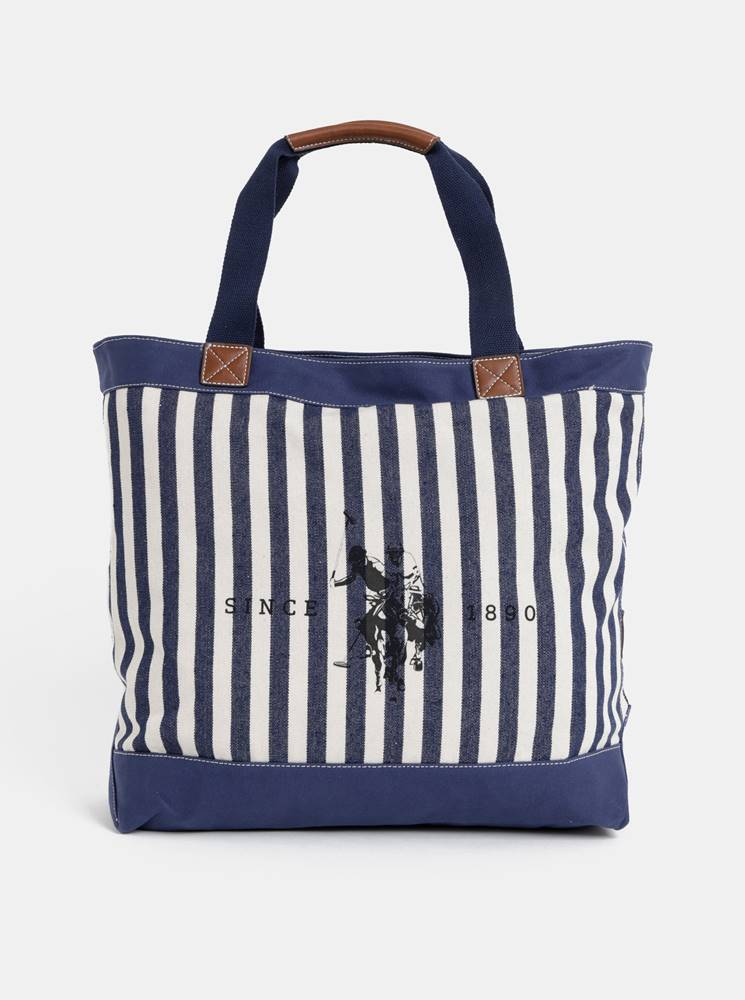 U.S. Polo Assn. Tmavomodrá dámska pruhovaná taška U.S. Polo Assn.