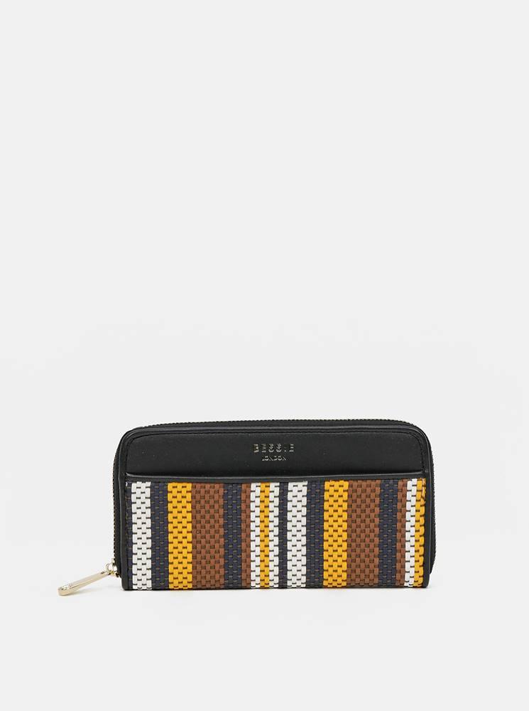Bessie London Hnedo-čierna pruhovaná peňaženka Bessie London