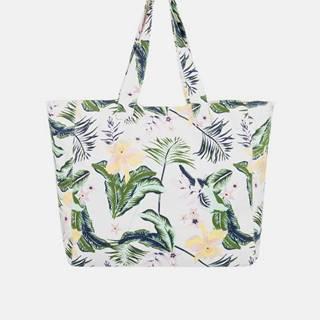 Zeleno-biela kvetovaná plážová taška Roxy