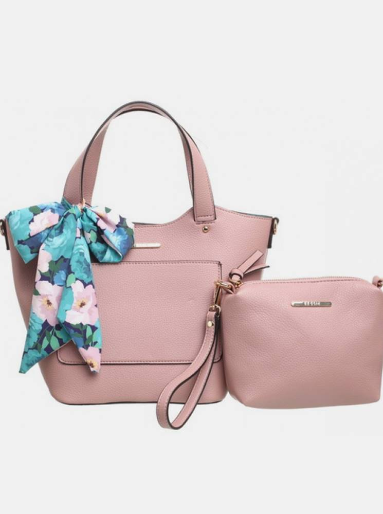 Bessie London Ružová kabelka s púzdrom a ozdobnou šatkou Bessie London