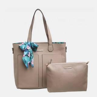 Béžová kabelka s púzdrom a ozdobnou šatkou Bessie London