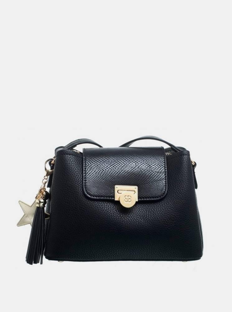 Bessie London Čierna crossbody kabelka s ozdobným strapcom Bessie London
