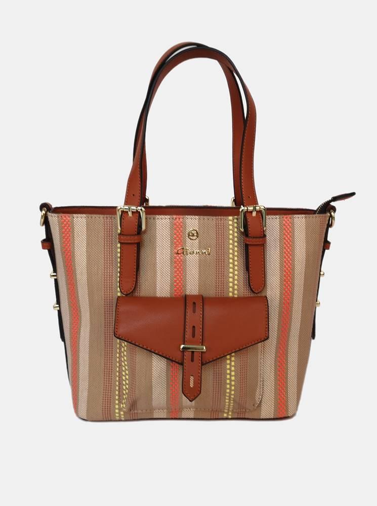 Gionni Hnedá pruhovaná kabelka Gionni