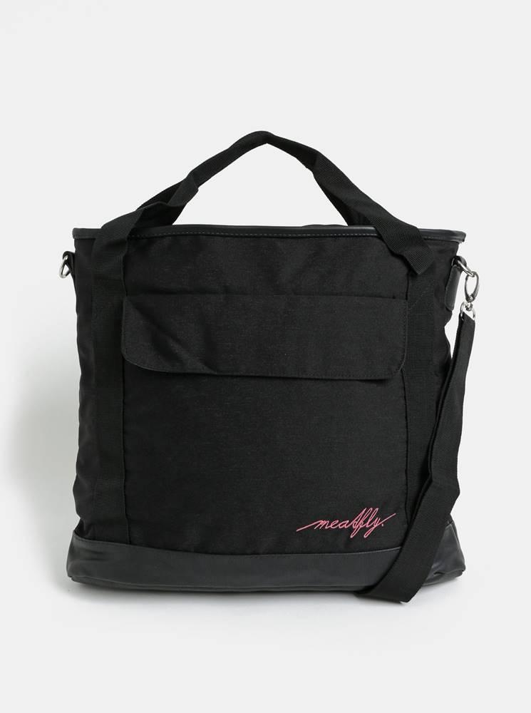 Meatfly Čierna kabelka s vreckom na notebook a odnímateľným popruhom Meatfly Kuna