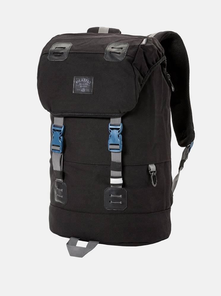 Meatfly Čierny batoh s koženkovými detailmi a plášťom proti dažďu Meatfly 26 l