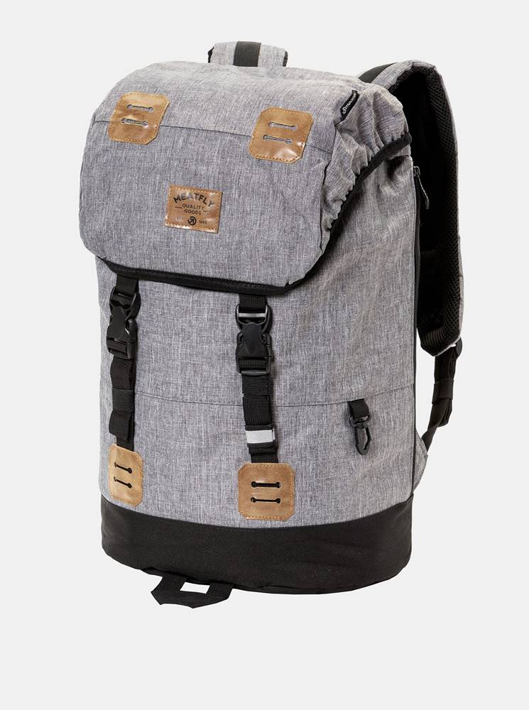 Meatfly Sivý melírovaný batoh s koženkovými detailmi a pláštenkou Meatfly 26 l