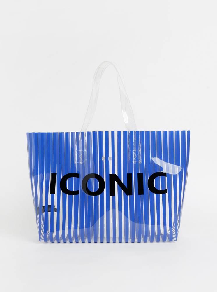 Pieces Modrá transparentná pruhovaná plážová taška Pieces Nina