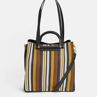 Hnedo-čierna pruhovaná kabelka Bessie London