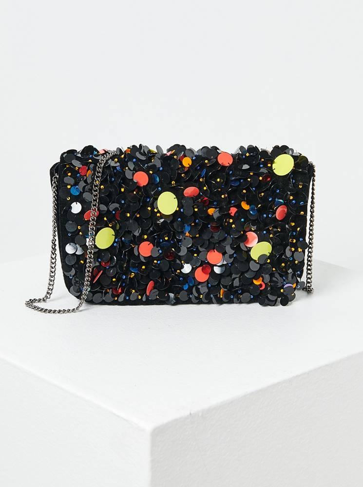 CAMAIEU Čierna kabelka s flitrami