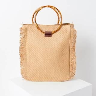 Béžová slamená kabelka CAMAIEU
