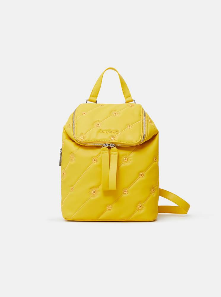Desigual Žltý dámsky vzorovaný batoh  Ojo de Tigre Nerano Loen Mini