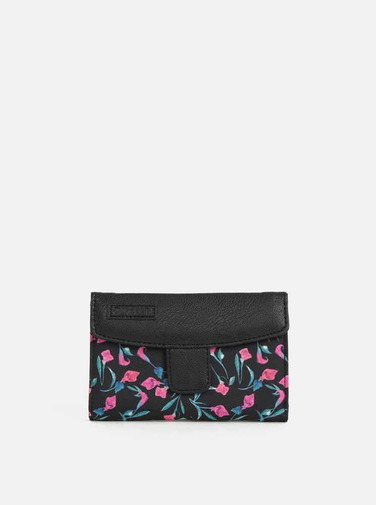 Meatfly Čierna dámska kvetovaná peňaženka Meatfly Needle
