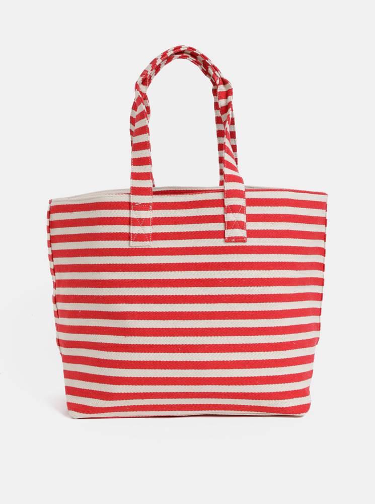 Pieces Krémovo–červená pruhovaná plážová taška Pieces Barbaro