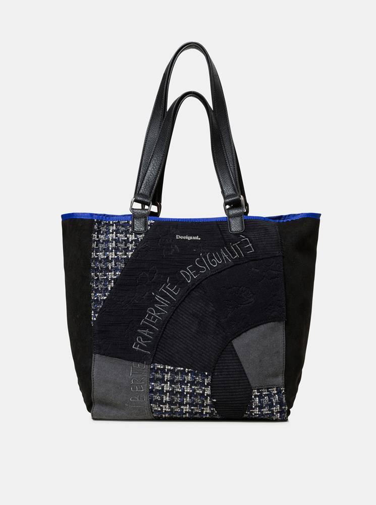 Desigual Čierny vzorovaný shopper s detailmi v semišovej úprave Desigual Liberté