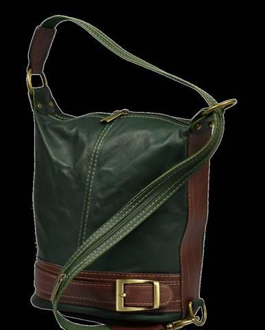 kožená kabelka cez rameno Adele Verde Scura