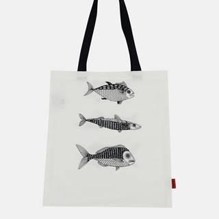 Béžová plátená taška s potlačou Tranquillo Home Fish